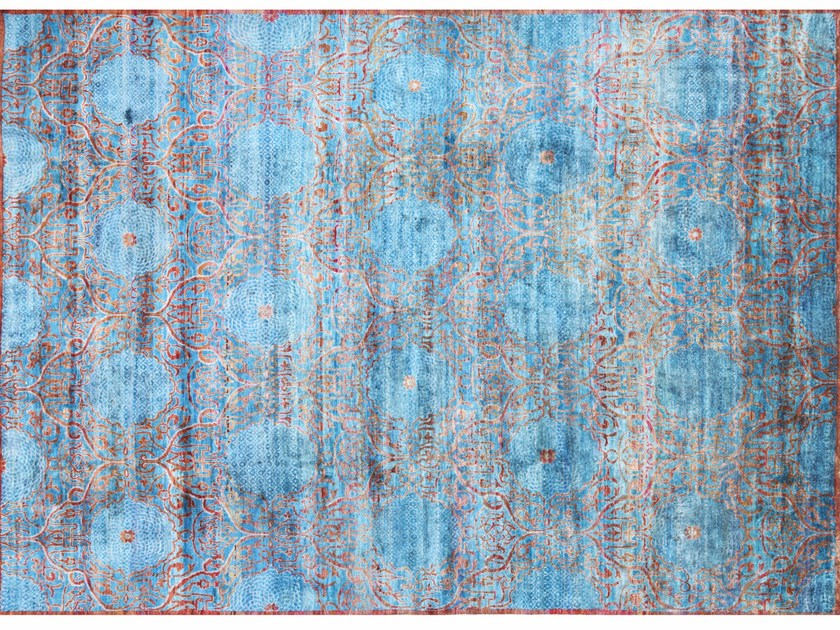 Patterned rectangular silk rug TAJ | Silk rug - EBRU