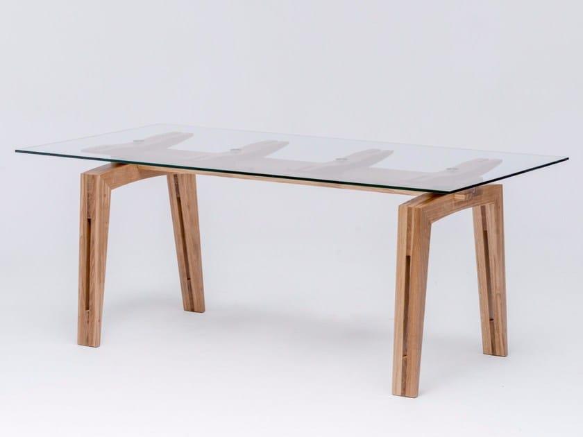 Tavolo da pranzo rettangolare in legno e vetro TAMAZO AIR - ST FURNITURE