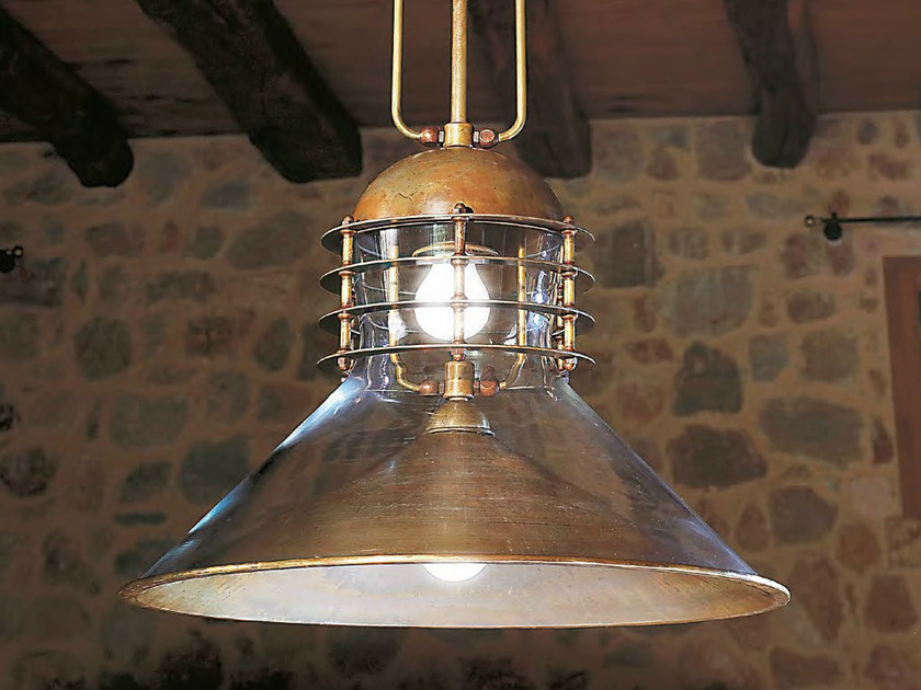 Direct-indirect light brass pendant lamp TAMER by Aldo Bernardi