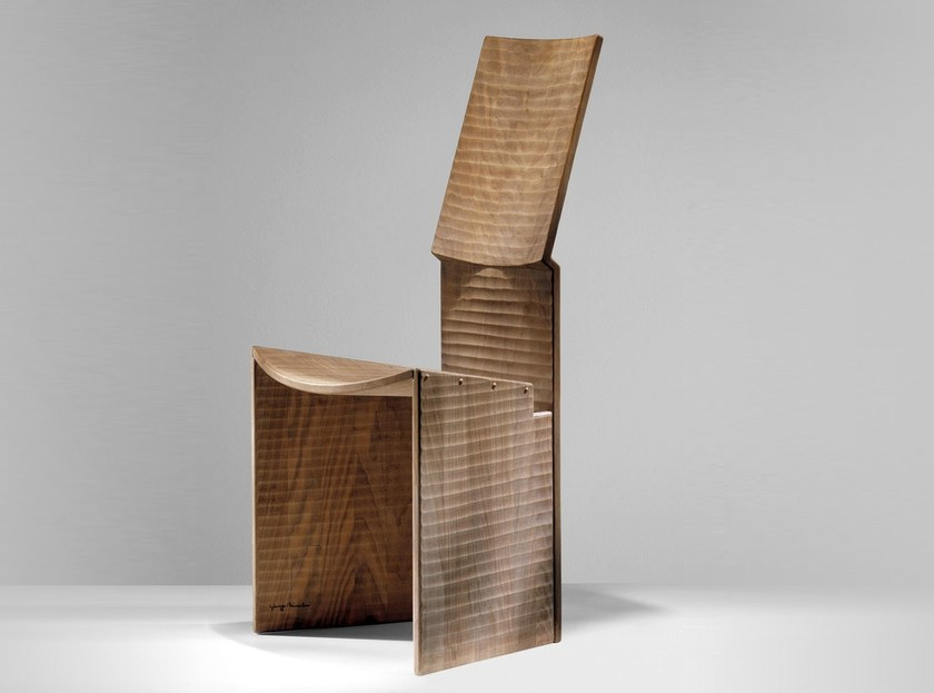High-back walnut chair TANZIO - HABITO by Giuseppe Rivadossi