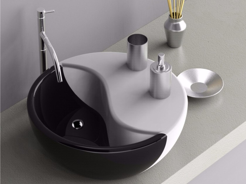 Countertop round washbasin with integrated countertop TAO | Washbasin - ZAD ITALY