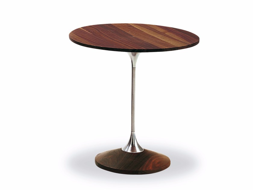 Round aluminium and wood coffee table TARASSACO by Riva 1920