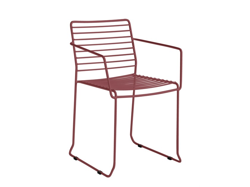 Galvanized steel chair with armrests TARIFA | Chair with armrests - iSimar