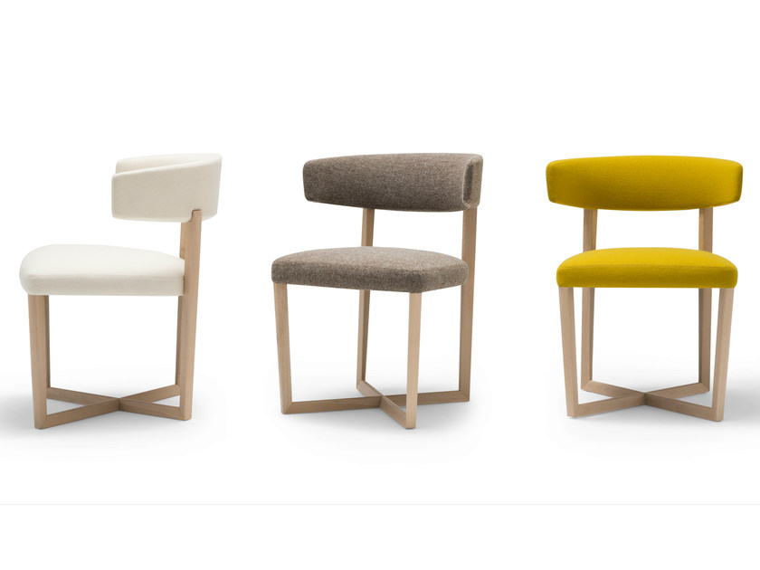 Upholstered fabric chair TAURO WOOD | Chair - Andreu World
