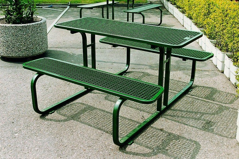 Rectangular steel Table for public areas with integrated benches TAVOLO DRINK 01 - SMEC