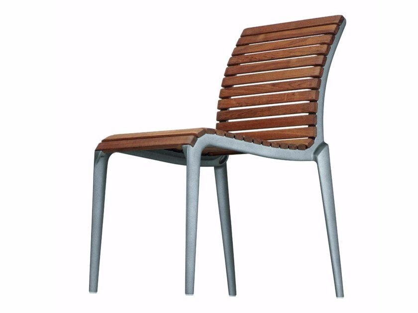 Stackable aluminium and wood garden chair TEAK CHAIR - 475_O by Alias