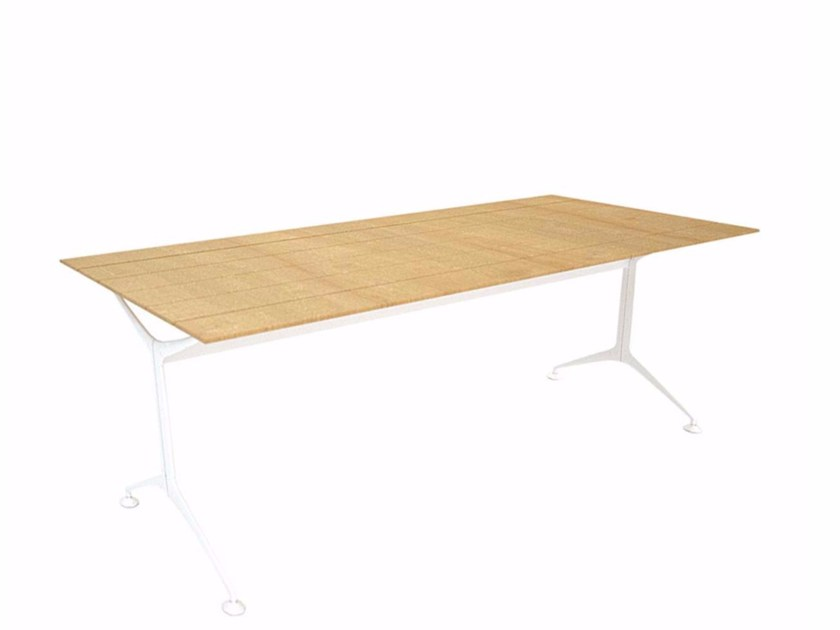 Rectangular aluminium and wood garden table TEAK TABLE 200 - 486_200_O - Alias