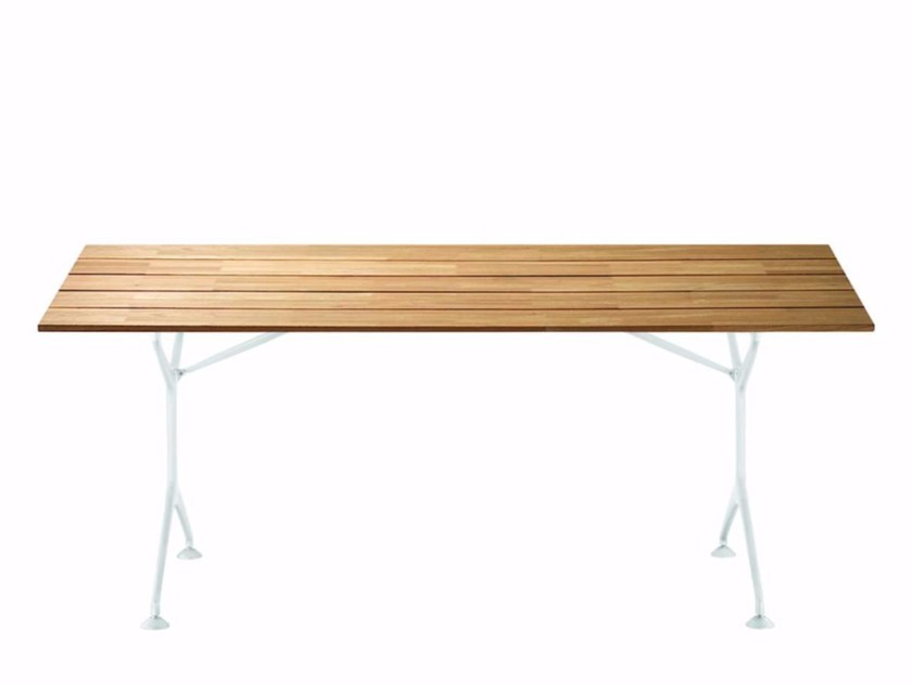 Folding rectangular aluminium and wood garden table TEAK TABLE 200F - 485_O - Alias