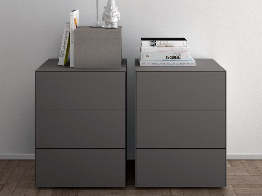 Contemporary style rectangular bedside table with drawers TECNO | Bedside table - PIANCA