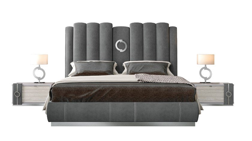Contemporary style full size wooden bed with high headboard with upholstered headboard TEMPLE | Upholstered bed - Caroti