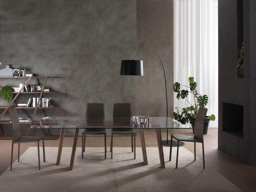 Tavolo rettangolare in legno e vetro TEN FOR TEN - Pacini & Cappellini