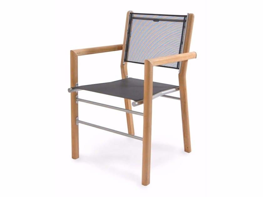 Sedia da giardino in teak con braccioli TENNIS | Sedia con braccioli - FISCHER MÖBEL