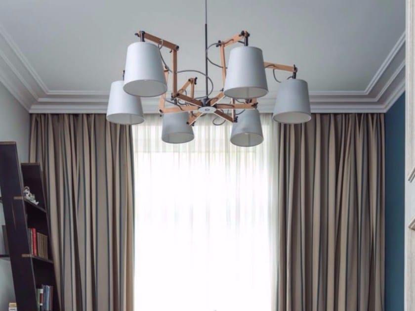 Direct light adjustable wooden pendant lamp TEO | Pendant lamp - Aromas del Campo