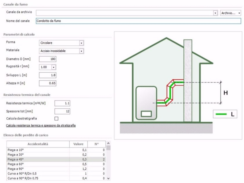 Calculation of chimney and chimney flue TERMOLOG EpiX 7 - Modulo CAMINI - LOGICAL SOFT