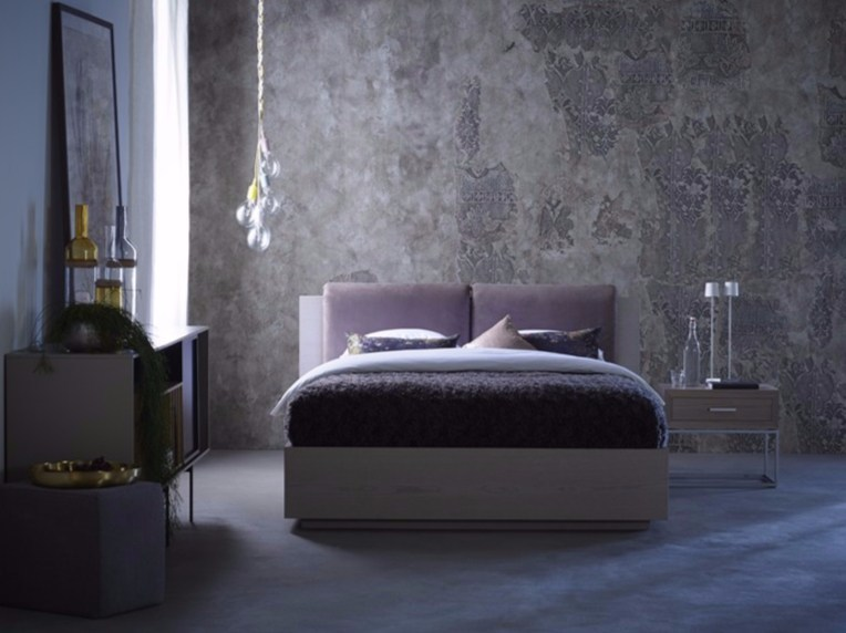 Upholstered bed with high headboard TERRA - Schramm Werkstätten