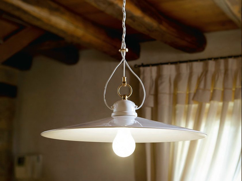 Direct-indirect light ceramic pendant lamp TESA | Pendant lamp - Aldo Bernardi