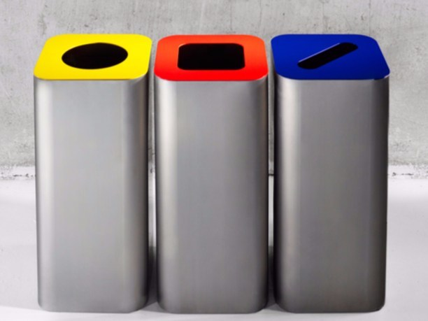 Stainless steel waste bin for waste sorting TETROMINO | Waste bin for waste sorting - Derlot Editions