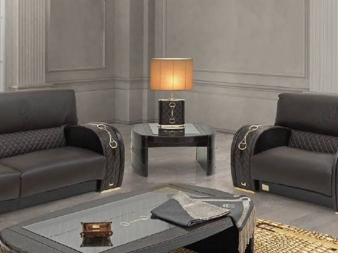 Low square leather coffee table for living room TEXAS PLUS | Square coffee table - Formitalia Group
