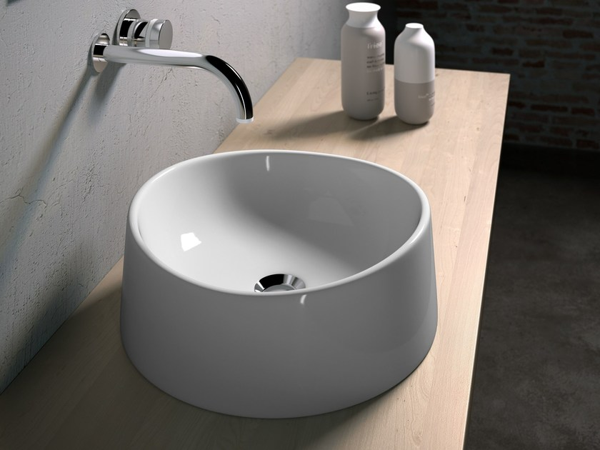 Countertop round washbasin TEXTURE | Round washbasin by Olympia Ceramica