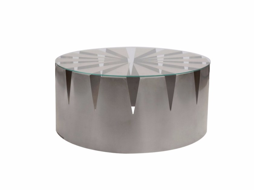 Round Glass and Stainless Steel coffee table THE CROWN by Placidia