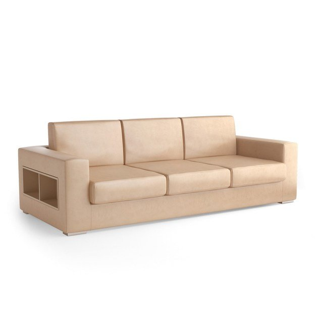 Contemporary style 3 seater upholstered leather sofa with integrated magazine rack THECA | 3 seater sofa by Caroti