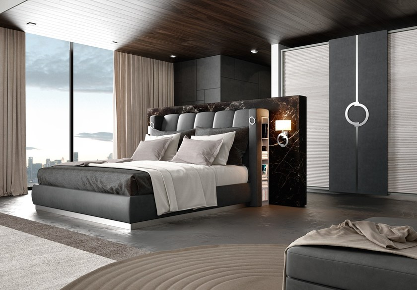Contemporary style wooden storage bed with high headboard THECA | Bed with storage headboard - Caroti