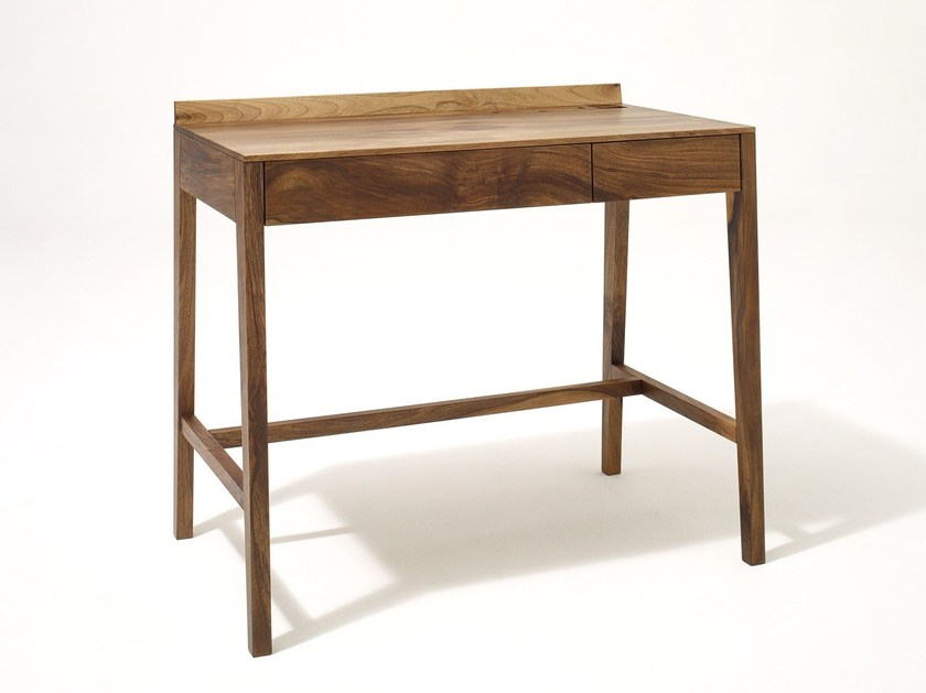 Rectangular solid wood writing desk with drawers THEO LIGHT DESK | Solid wood writing desk - sixay furniture