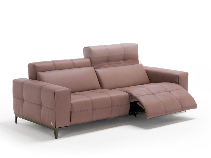 Tufted 3 seater leather sofa with footstool TIFFANY - Egoitaliano