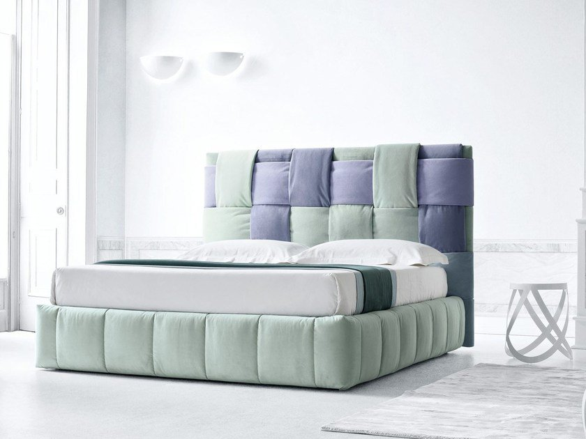 Fabric double bed with upholstered headboard TIFFANY by Felis