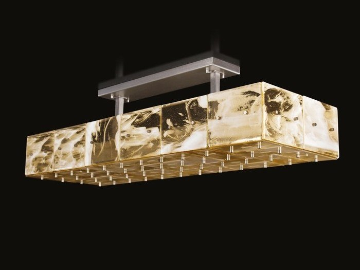 Contemporary style LED handmade modular glass ceiling light TILIGHT | Glass ceiling light - MULTIFORME