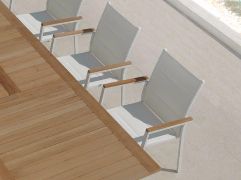 Stackable textilene garden chair TIMBER | Garden chair - Talenti
