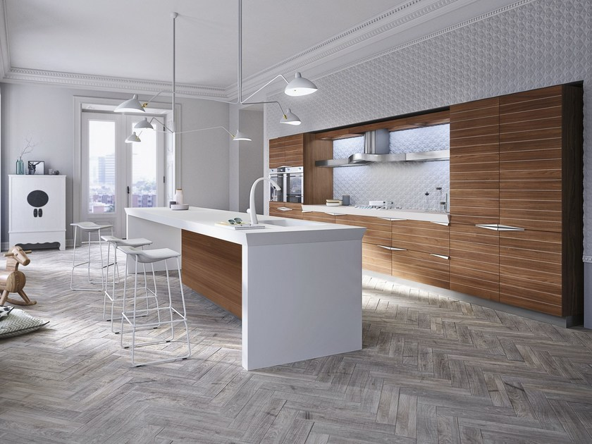 Walnut fitted kitchen with island TIME   Kitchen with island by Snaidero