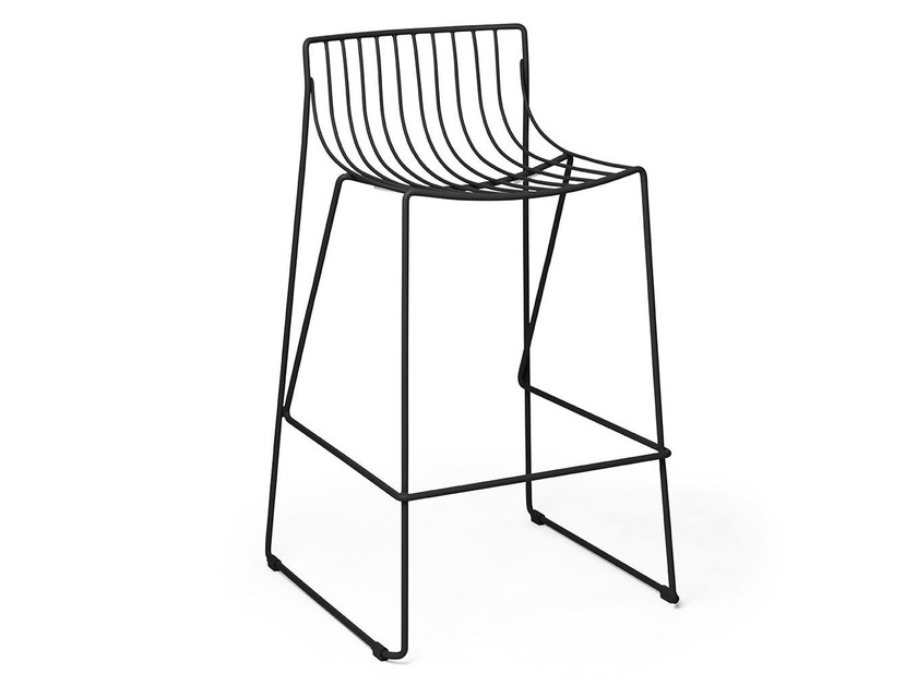 Stackable bar stool in steel wire TIO | High stool by Massproductions
