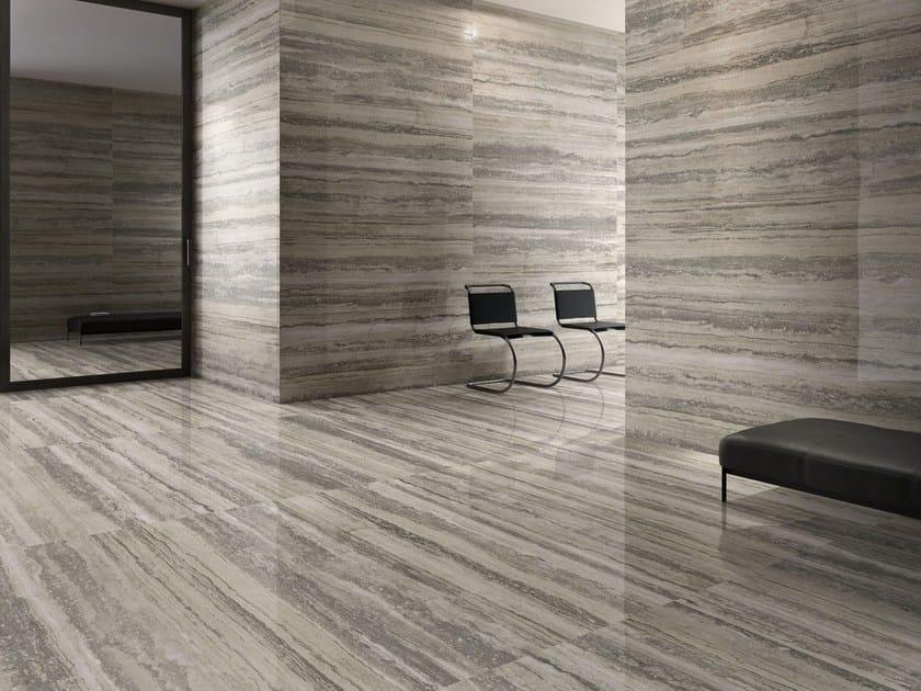 Travertine tile effect laminate flooring