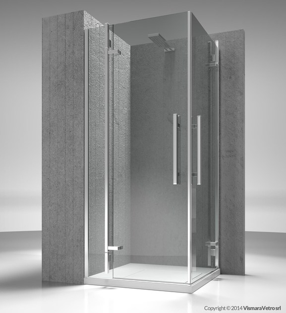 Corner custom tempered glass shower cabin TIQUADRO QA+QA by VISMARAVETRO