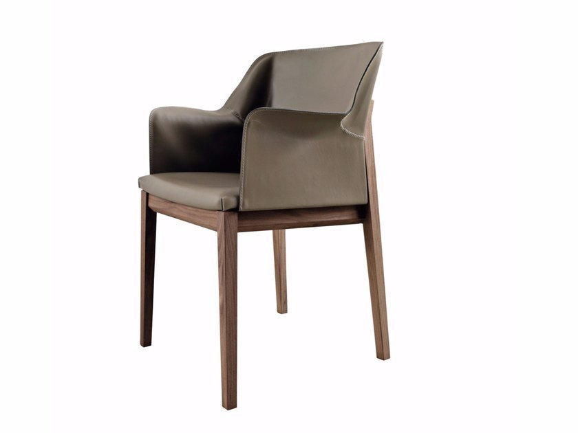 Tanned leather chair with armrests TIVAN - MOLTENI & C.