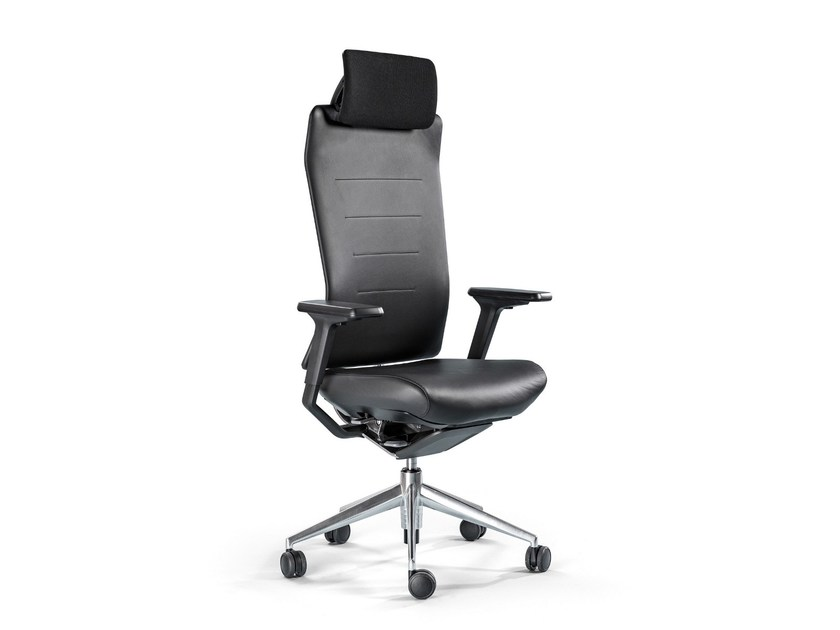 Leather task chair with 5-Spoke base TNK FLEX | Leather task chair - ACTIU