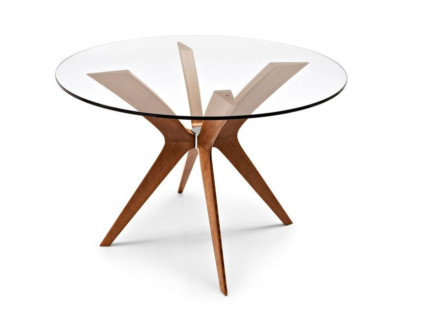 Round wood and glass table TOKYO | Round table - Calligaris
