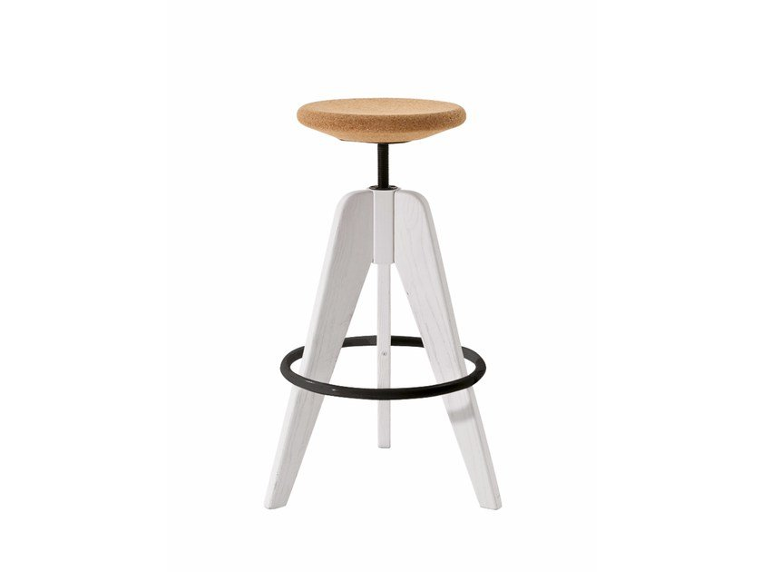 Wooden stool with footrest TOM by Colico