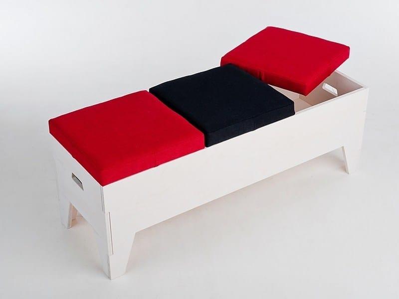Storage upholstered plywood bench TOM   Storage bench - Radis
