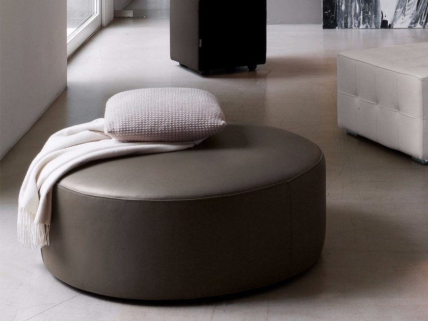Upholstered leather pouf TONDO - Dall'Agnese