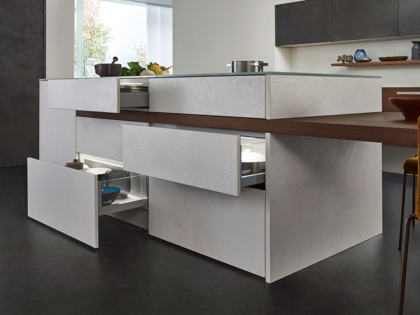 kitchen with island topos concrete by leicht k chen. Black Bedroom Furniture Sets. Home Design Ideas