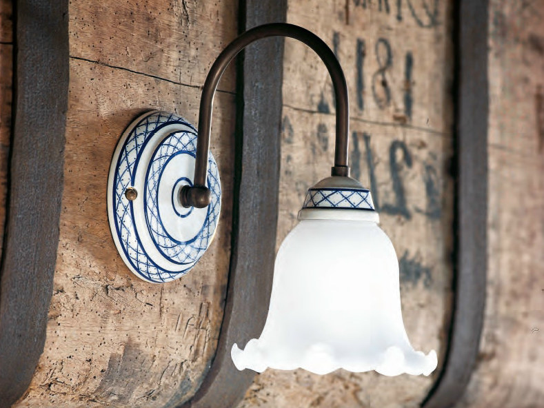Glass wall lamp with fixed arm TORCIO | Glass wall lamp - Aldo Bernardi
