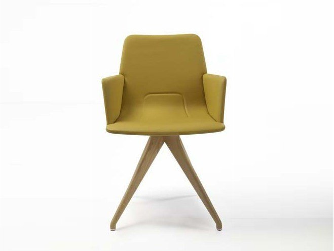 Trestle-based fabric easy chair with armrests TORSO | Easy chair with armrests - Potocco