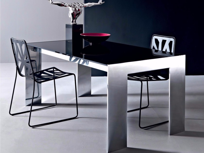 Rectangular lacquered glass table TOUCH | Table - Esedra by Prospettive