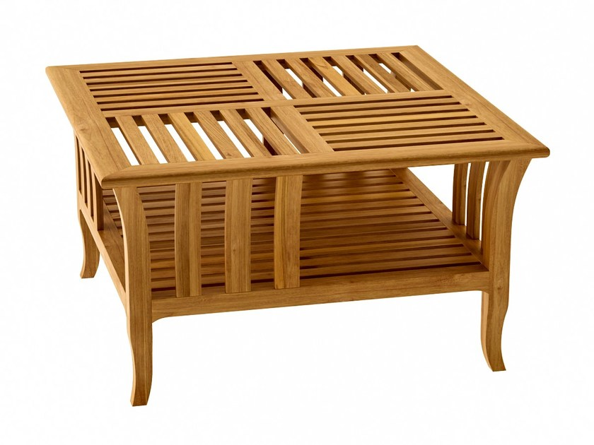 Deco low teak coffee table TOURNESOL | Square coffee table - ASTELLO