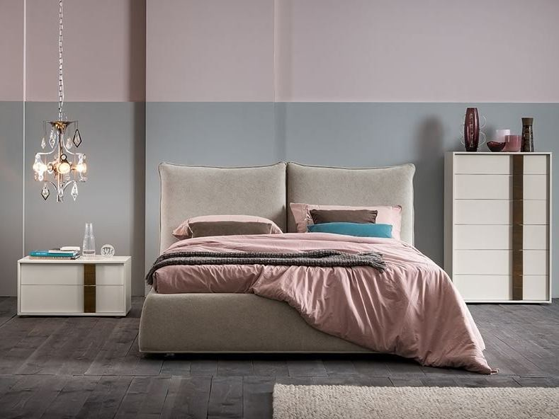 Fabric double bed with upholstered headboard TRACE - Dall'Agnese