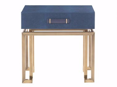 Rectangular leather bedside table with drawers TRAFALGAR | Bedside table - Gianfranco Ferré Home