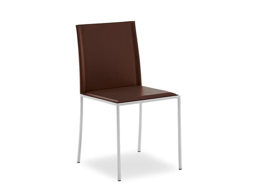 Tanned leather chair TRAMA - Calligaris