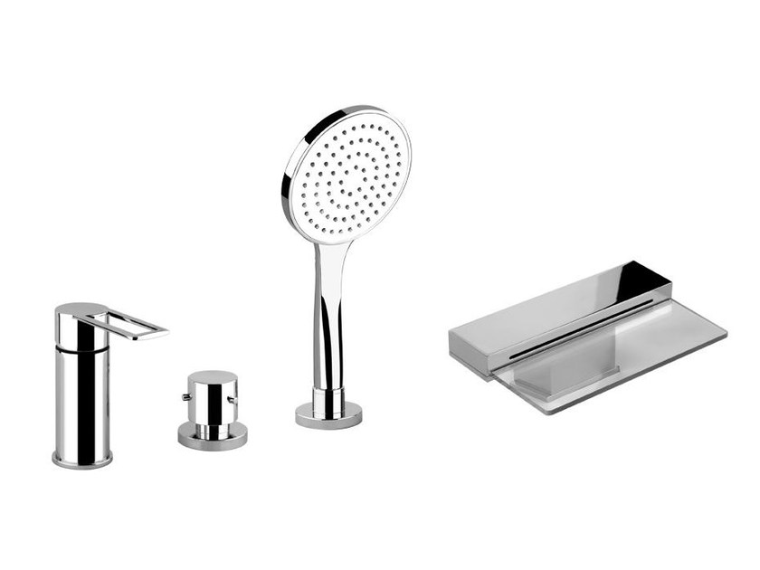 4 hole bathtub mixer with hand shower TRASPARENZE 34245 by Gessi